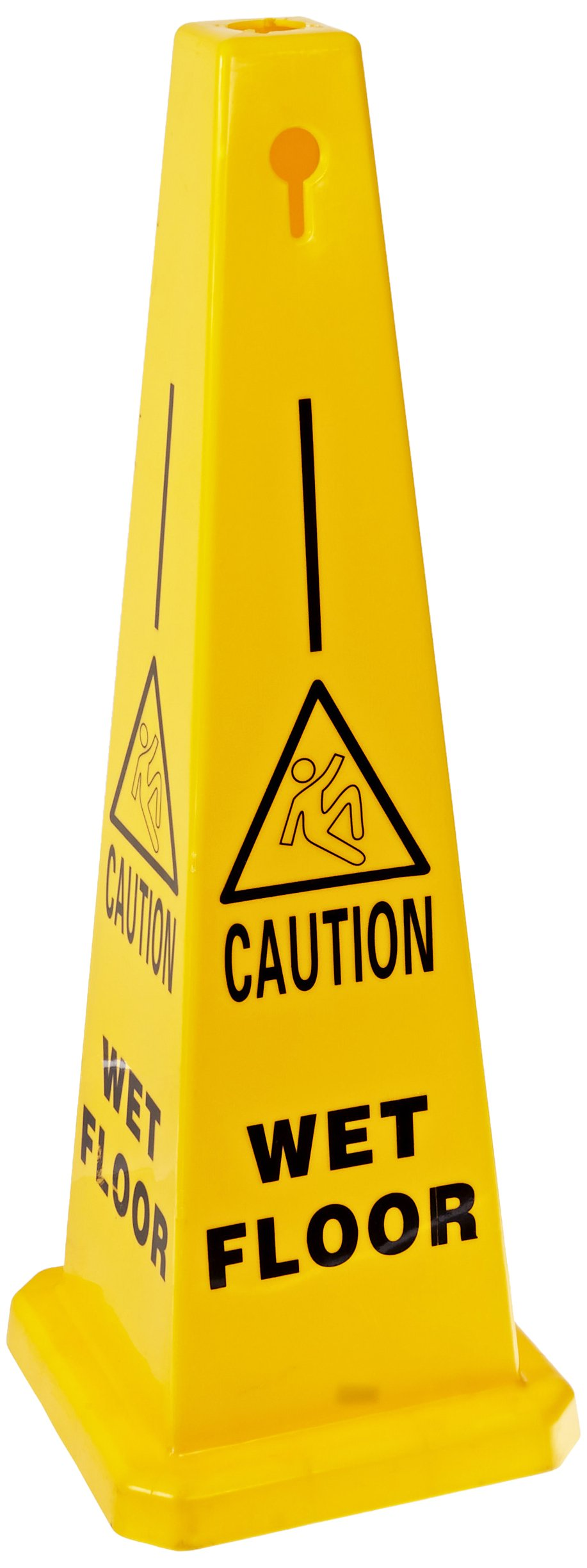 Brady 77202 35'' Height, Black And Red On Yellow Color Bradycone Warning System, Legend''Wet Floor''