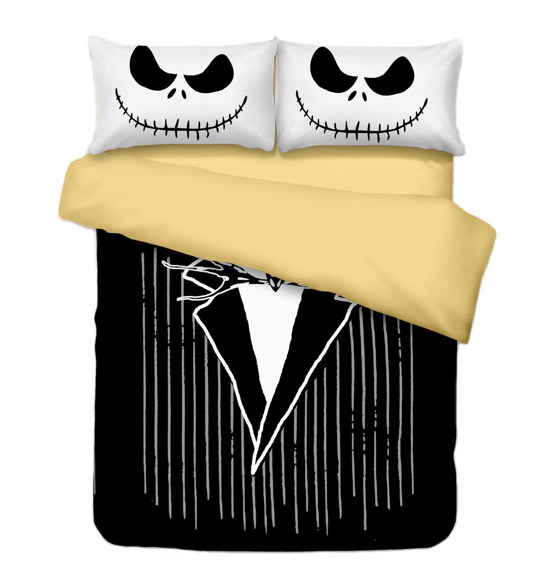 KTKRR Christmas Duvet Cover Set (no comforter),Scarecrow Style Nightmare Before Christmas 3pc Bedding Set, Duvet Cover with Pillowcase Gift 3D Terrorist Design (CAL KING, Jack clothing)