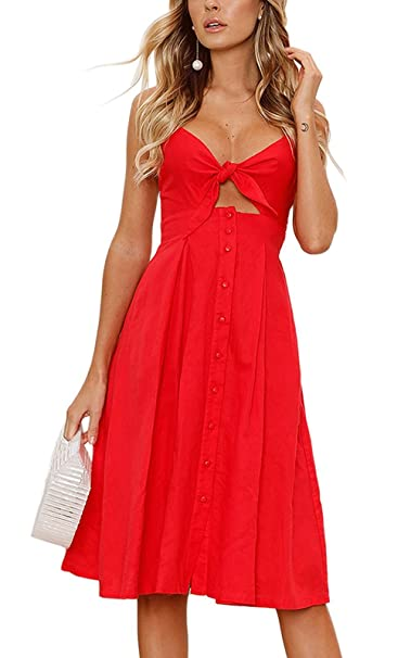 a6346241c8a3 Women's Summer Dresses Tie Front V-Neck Spaghetti Strap Button Down A-Line  Backless