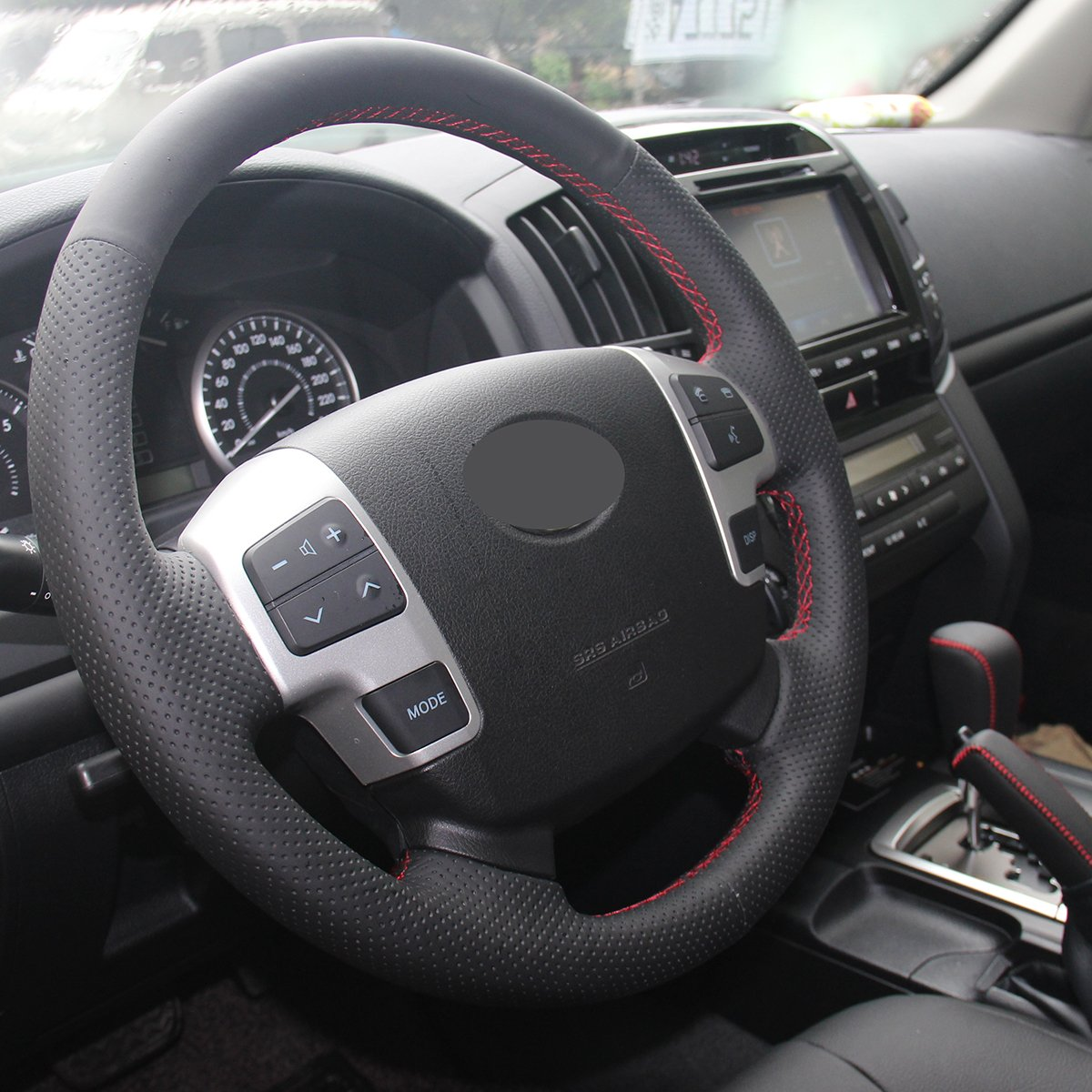 JI Loncky Black Genuine Leather Auto Custom Steering Wheel Covers for 2008-2015 Toyota Land Cruiser 2008-2013 Toyota Sequoia Accessories lfy-0056 2007 2008 2009 2010 2011 2012 2013 Toyota Tundra