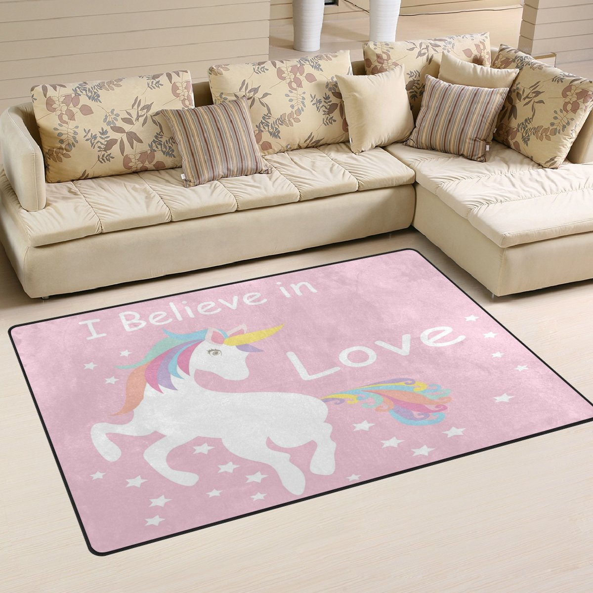 WOZO I Believe in Love Cute Unicorn Pink Area Rug Rugs Non-Slip Floor Mat Doormats Living Room Bedroom 31 x 20 inches g2987596p146c161s240
