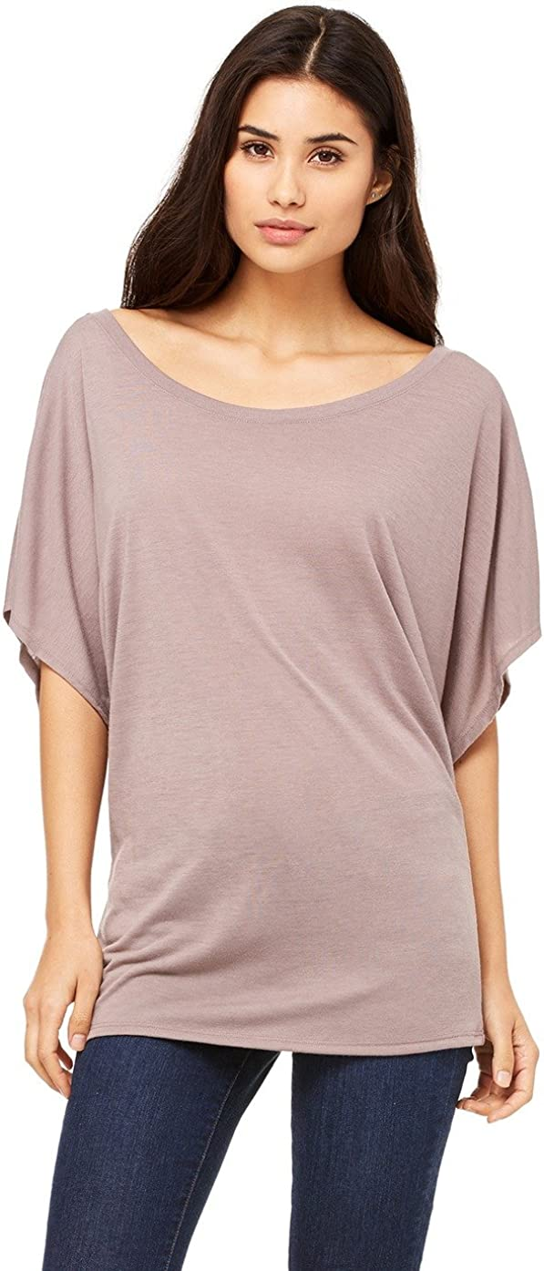 Pebble Brown 8821 S Bella Canvas Flowy Draped Sleeve Dolman T-Shirt