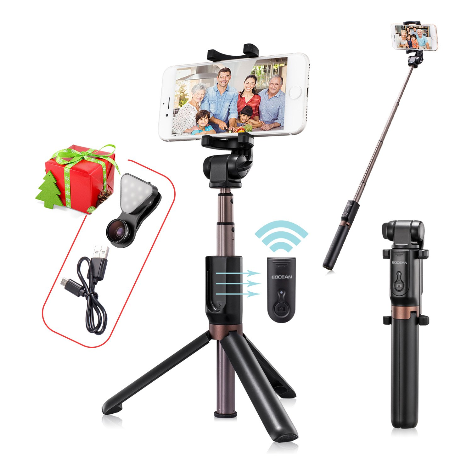 big sale eb28f 03b71 Amazon.com: Eocean Selfie Stick Tripod with Wireless Remote, Tripod ...