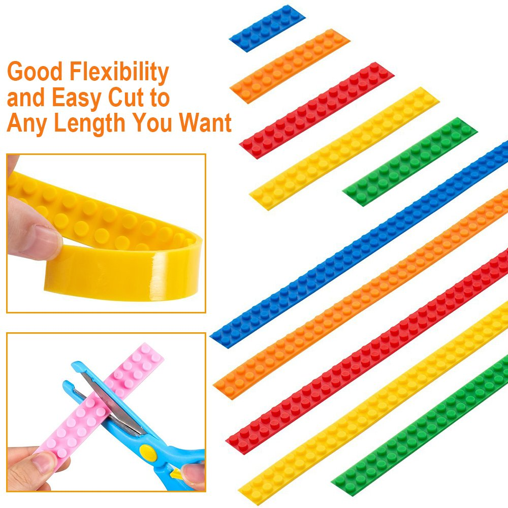 Block Tape for Lego Bricks with Self-Adhesive, Non-Toxic Reusable and Cuttable Compatible with Lego Block Toys and Major Brands Building Blocks, 2 Colors 3 ft of Each, Perfect DIY Gift for Kids and Adults
