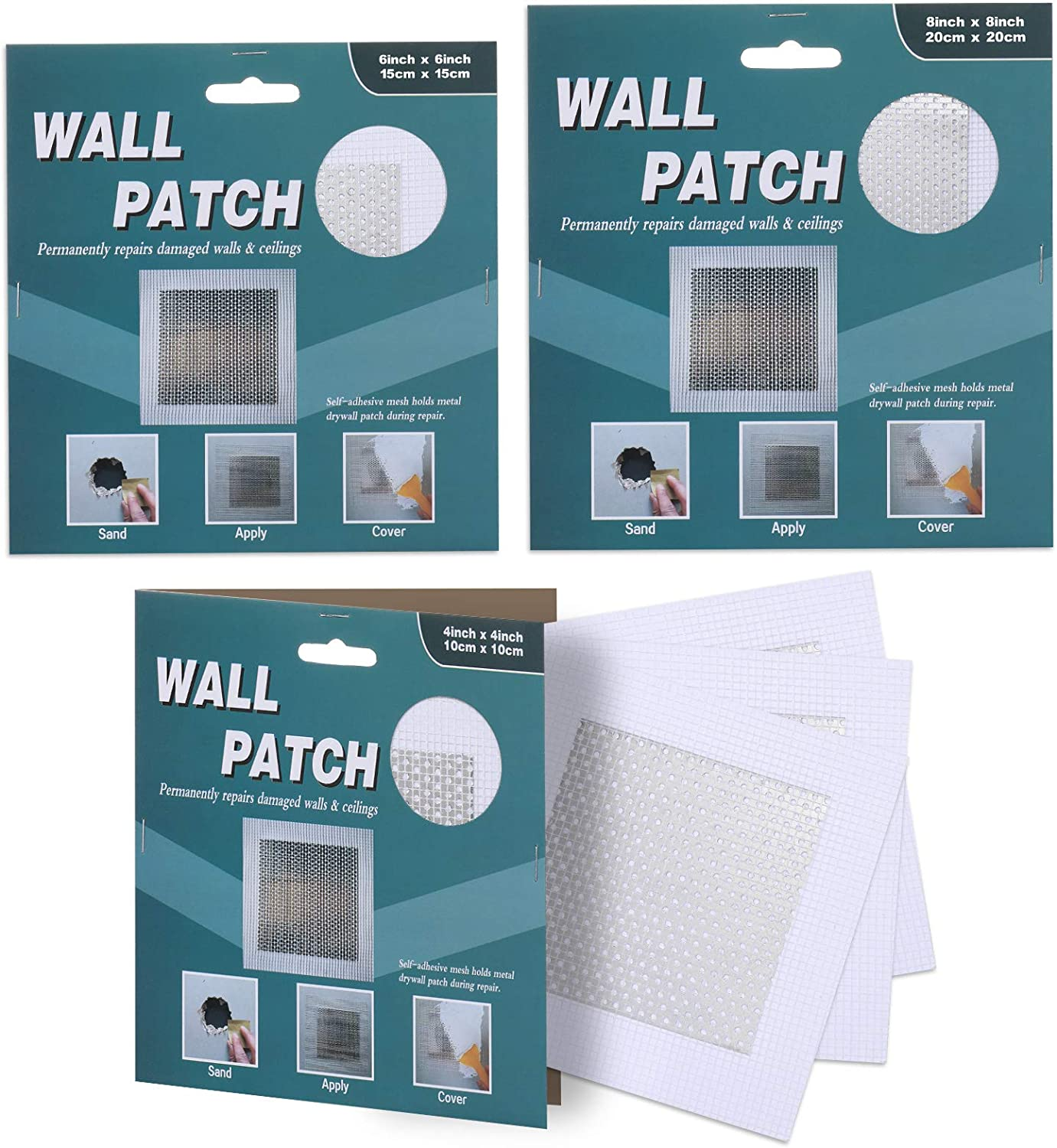 "Drywall Repair Kit Patch, Wall Patch Repair Kit, Self -Adhesive Fiberglass Screen Patch, 4""x4""(3)6""x6""(1) 8""x8""(1)Dry Wall Hole Repair Patch Metal Patch with Extended Self-Adhesive Mesh(5 Pack)"