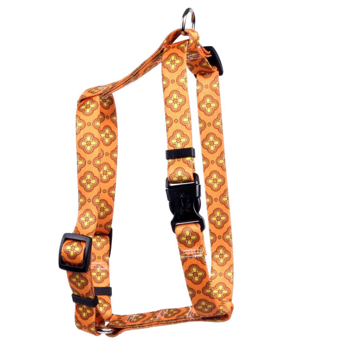 Yellow Dog Design Cleo Orange Roman Style H Dog Harness, Large