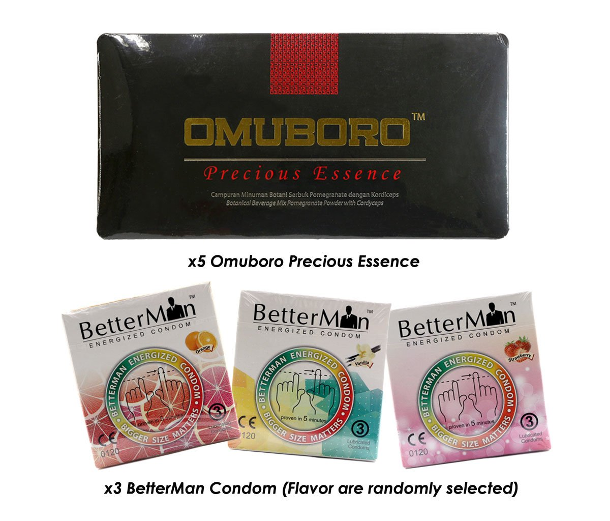 (5) Pack Omuboro Precious Essence with Butea Superba and Better Sex Erection Enhancer + Free (3) Box BetterMan Anion Energized Condom