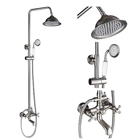Rain Shower Head With Handheld Spray.Rozin Bathroom Rainfall Shower Set Tub Faucet With Handheld Spray Brushed Nickel