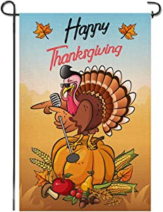 Shmbada Happy Thanksgiving Day Welcome Double Sided Burlap Garden Flag, Turkey Pumpkins Fruits Seasonal Holiday Outdoor Small Decorative Flags for Home Yard Lawn, 12.5 X 18.5 Inch