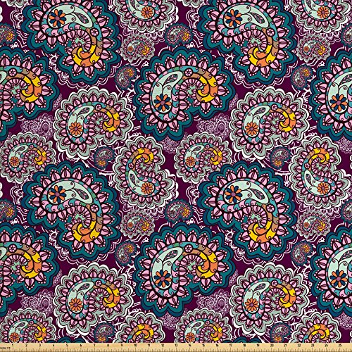 Upholstery Fabric Plum (Paisley Fabric by the Yard by Lunarable, Vibrant Colored Design with Lace Pattern Backdrop Vintage Lively Artistic, Decorative Fabric for Upholstery and Home Accents, Plum Teal Orange)