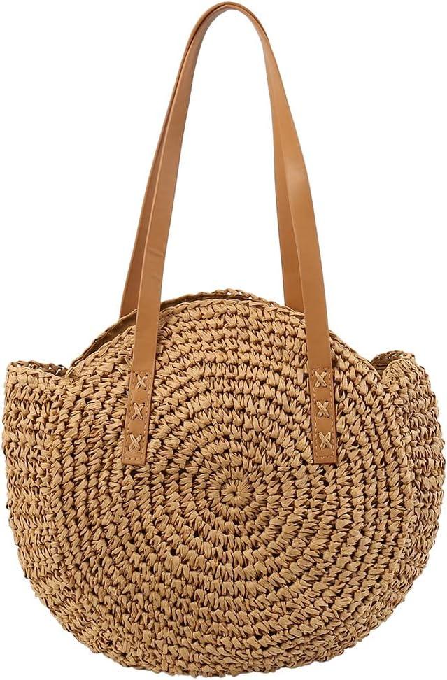 LoLa Ling Beach Bag Hand-Woven Rattan Straw Bag Bohemian Summer Round Handbag Travel Shopping Female Tote Wicker Bags