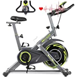 ANCHEER Indoor Exercise Bike, Stationary Bike with 10-Speed Resistance Level, Large LCD Monitor, 350 lbs Weight Capacity Exer
