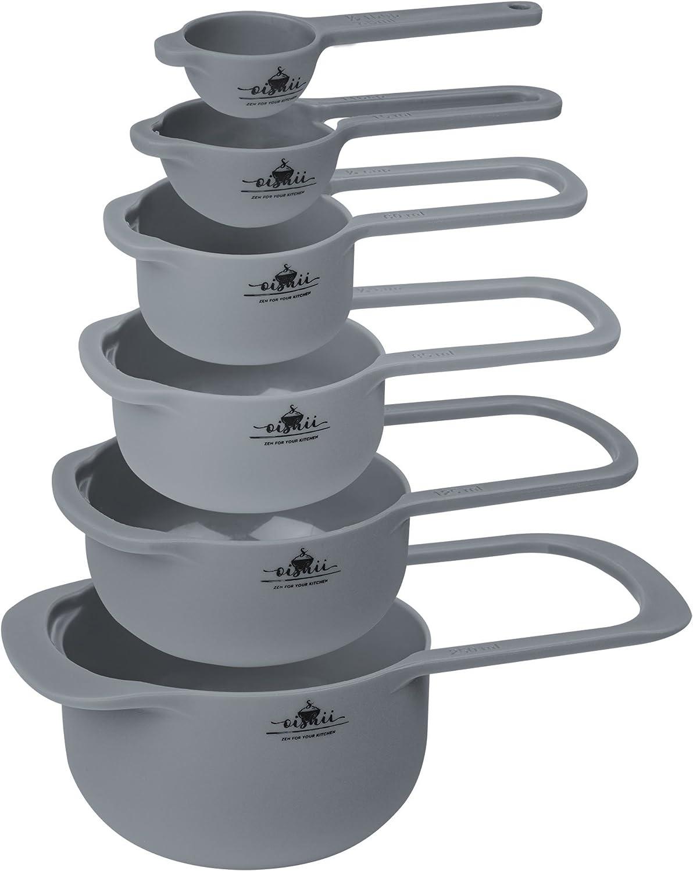 Oishii MeasureMaster - Juego de 6 tazas medidoras de 7.5 a 250 ml, aptas para lavavajillas
