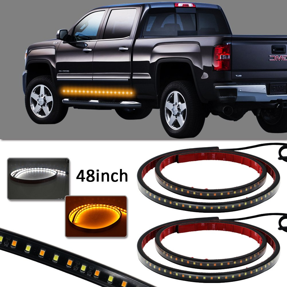 Pack of 2 LYLLA 48 inch Flexible 2-Function White Amber LED Side Light Turn Signal for Pickup Truck SUV HANSBO M 4333220804