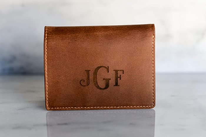 f126d0030c45 Amazon.com  Personalized Leather Slim Bifold Wallet Men Man Gift for Him  Dad Boyfriend Brother Guy Tan or Dark Brown The Sarasota Wallet  Handmade