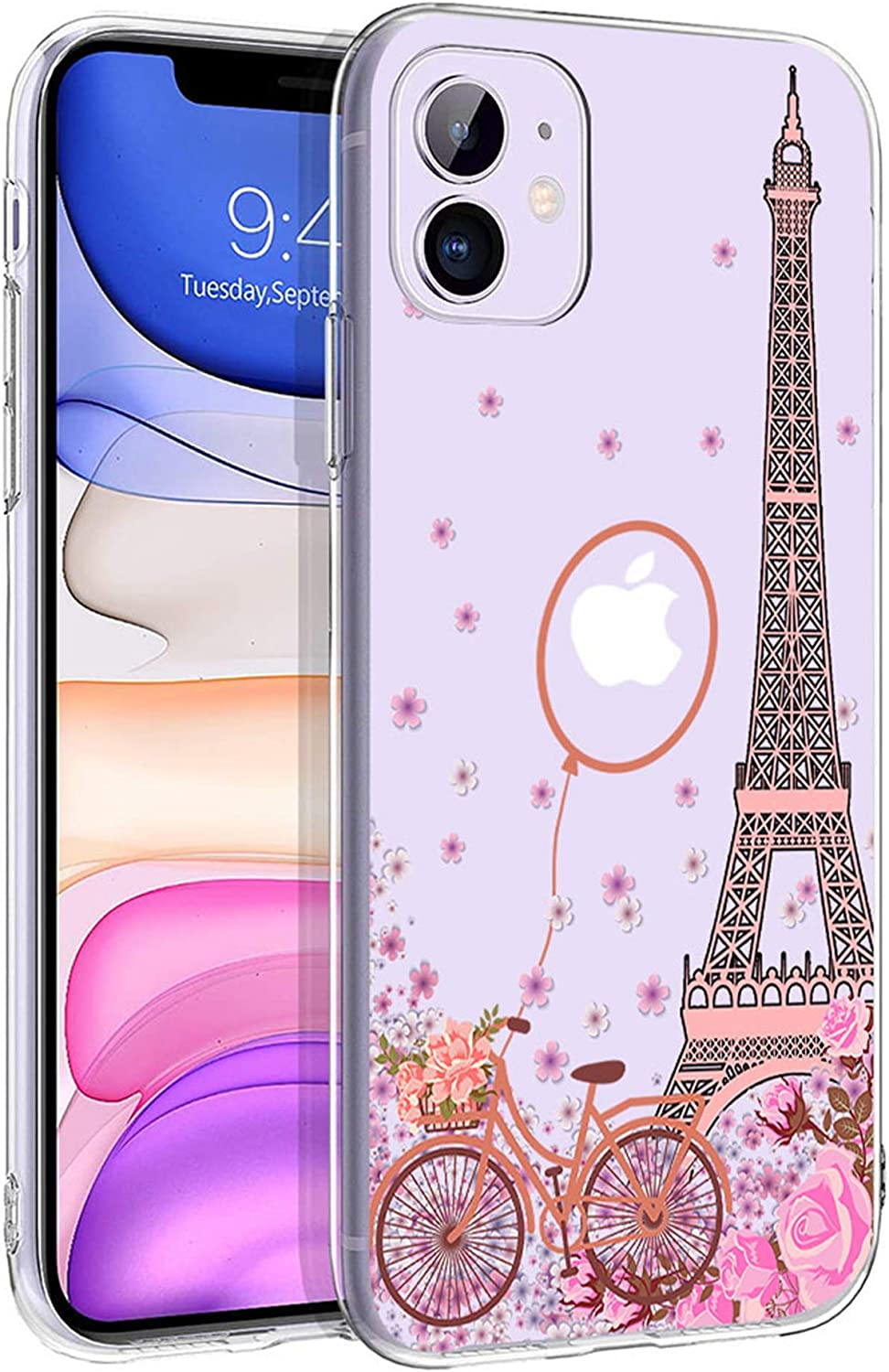 Cocomong Clear Paris Eiffel Tower Cute Phone Case Compatible with iPhone 11 Case Paris Cover for iPhone 11 Case for Girls Women Pink Flower Paris Decor Gifts, Soft Slim Fit Thin TPU Protective 6.1