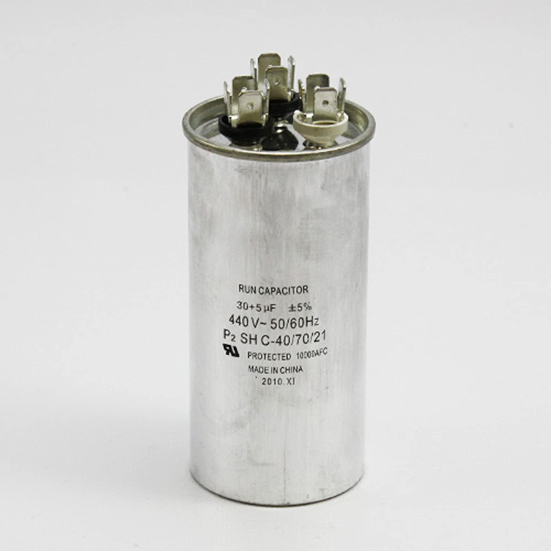 SUPCO CD30+5X440R Dual Motor Run Capacitor, Round, 30 + 5 Mfd x 440V, 2.00' Diameter, 3.75' Height 2.00 Diameter 3.75 Height Sealed Unit Parts Co. Inc