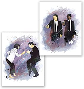PGbureau Pulp Fiction Poster – Set of 2 - Movie Art - Inspired Home Decor – Uma Turman - Samuel Jackson- Travolta - Tarantino Crime Film Movie (8x10)