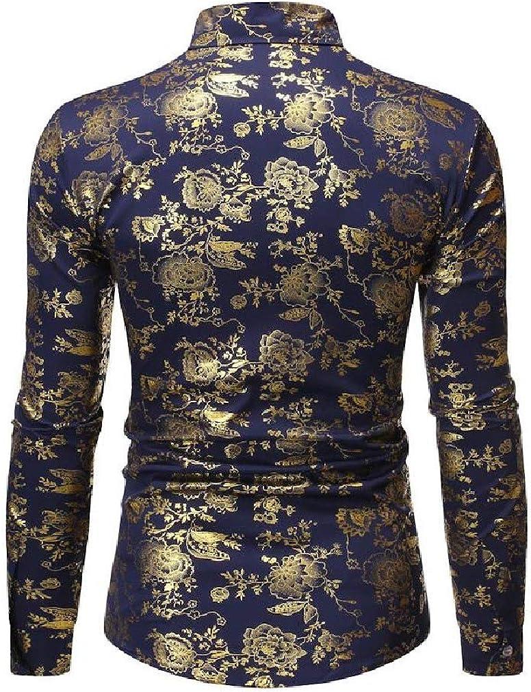 Winwinus Mens Turn-Down Collar Hot Stamping Single Breasted Western Shirt