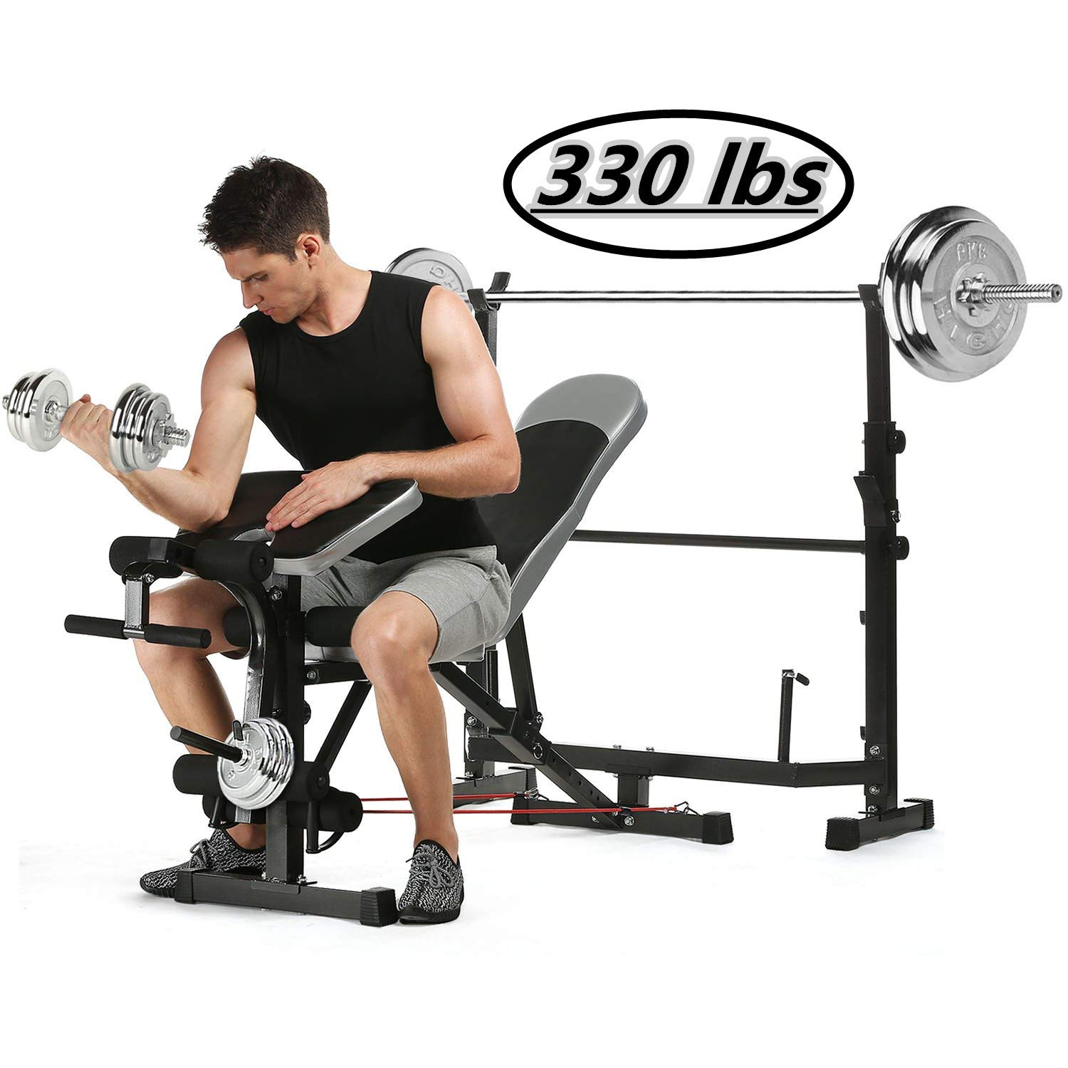Kepteen 330lbs Adjustable Olympic Weight Bench with Preacher Curl, Leg Developer, Multi-Functional Weight Bench Set Power Tower Workout Dip Station for Indoor Exercise US Stock