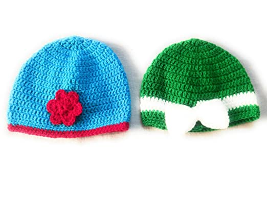 New Jain Traders - Combo of Two Hand Made Crochet Woolen Designer Caps for Baby  Boys   Girls  Amazon.in  Clothing   Accessories f4762662a38d