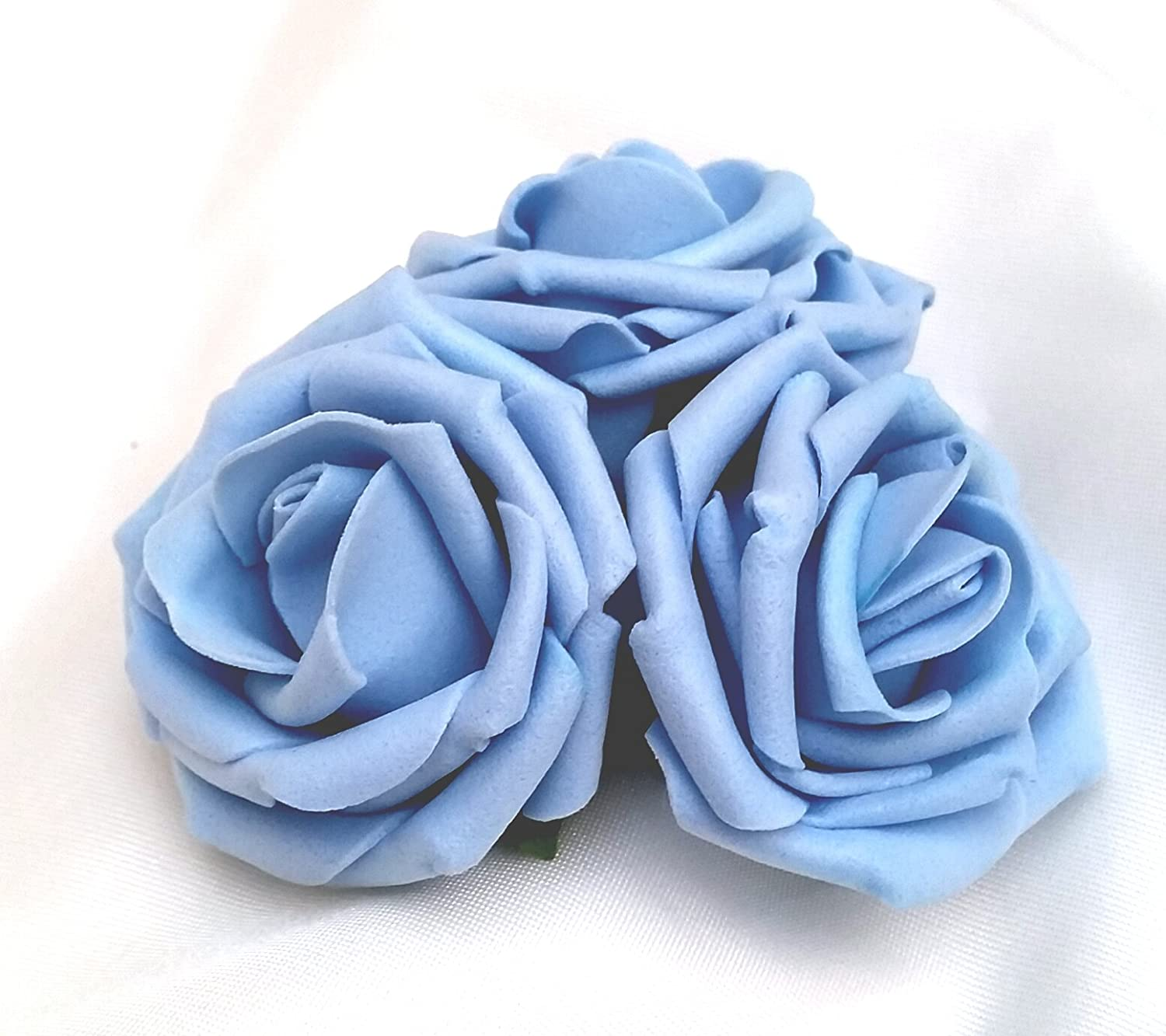 3 Pale Light Blue Roses Cluster Artificial Hair Flowers Corsage Clip Hand Made in Uk S1
