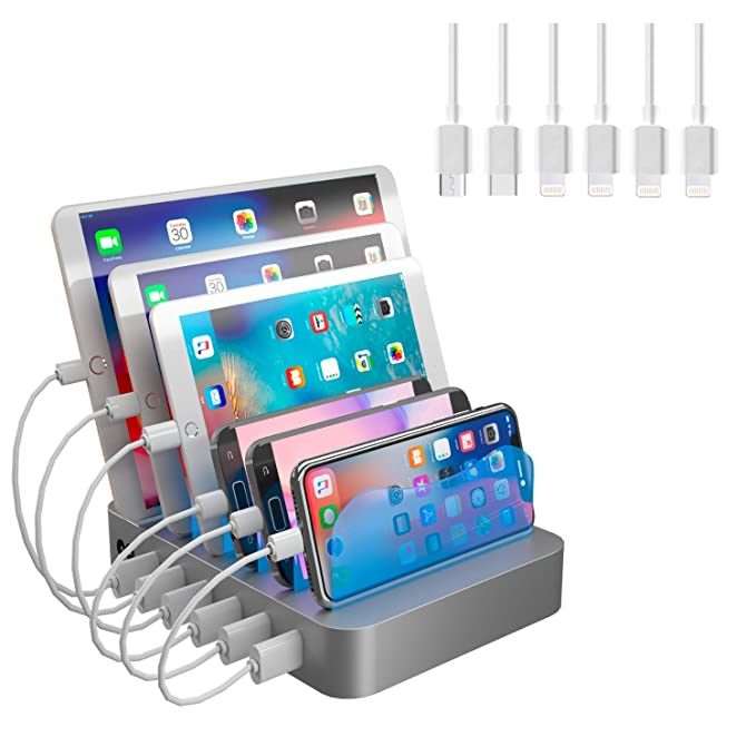 Hercules Tuff Charging Station Organizer for Multiple Devices - 6 Short  Mixed Cables Included for Cell f5cd02127e8cc