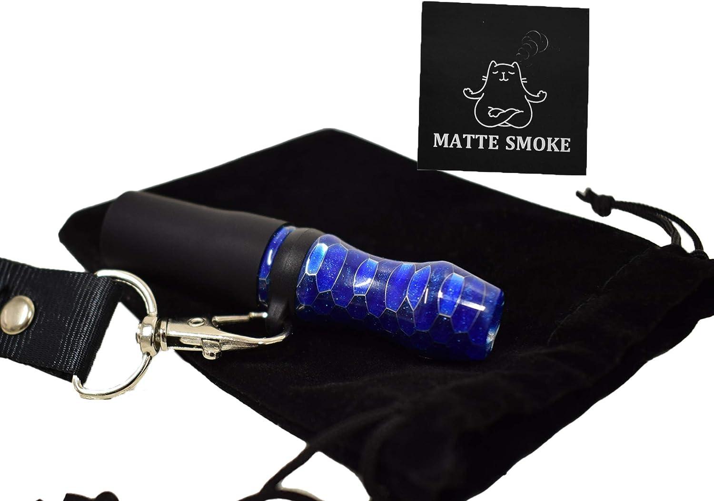 Boquilla para Cachimba hecha con Resina Premium Reutilizable para Uso Personal + Colgante para el Cuello de Nailon + Bolsa para Transportar + Pegatina, Accesorio Shisha Hookah Narguile (Azul)