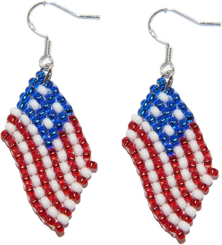 Pendientes Estados Unidos, USA, United States de banderas de abalorios. Joyería de trabajos de abalorios hechos a mano.: Amazon.es: Joyería