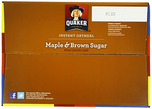 Amazon.com: Quaker Instant Oats, Maple Brown Sugar, 48-Count: Oatmeal Breakfast Cereals