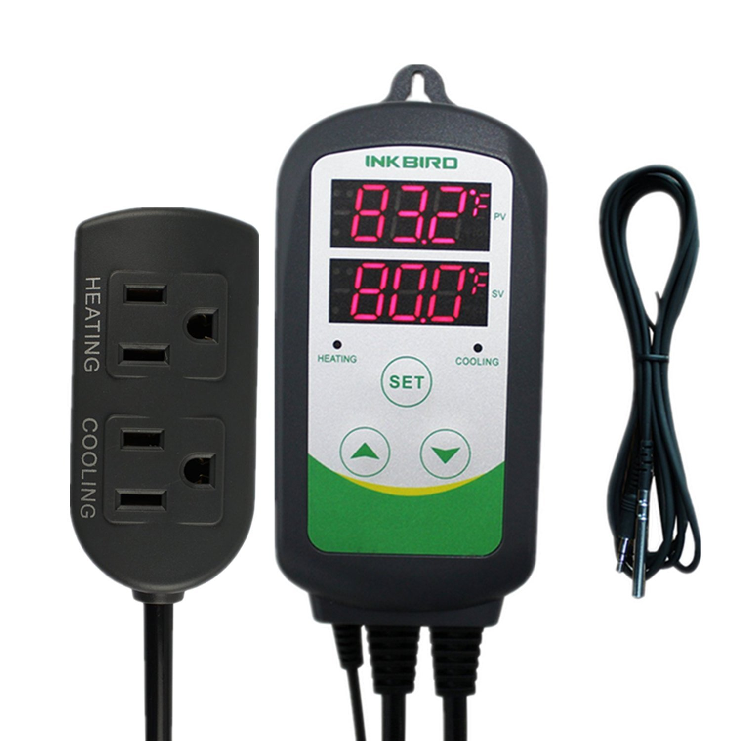 Inkbird Pre-Wired Digital Dual Stage Temperature Controller Outlet Thermostats 110V 1100W With 6.65ft DC Cord NTC Stainless Probe Sensor for Aquarium, Incubator ect
