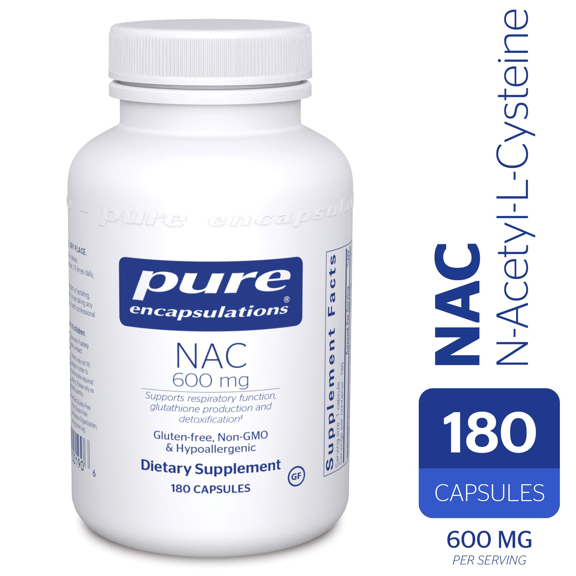 Pure Encapsulations - NAC (N-Acetyl-L-Cysteine) 600 mg - Amino Acids to Support Antioxidant Defense and Healthy Lung Tissue - 180 Capsules