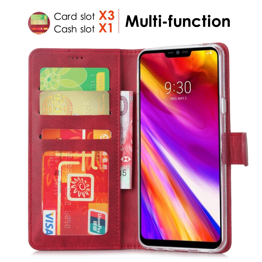 LG G7 Case/LG G7 ThinQ Case, Cress [Slim Fit] [Stand Feature] Flip Leather Wallet Case With Card Slot Magnetic Closure Bumper TPU For LG G7 (Red) by Cresee (Image #2)
