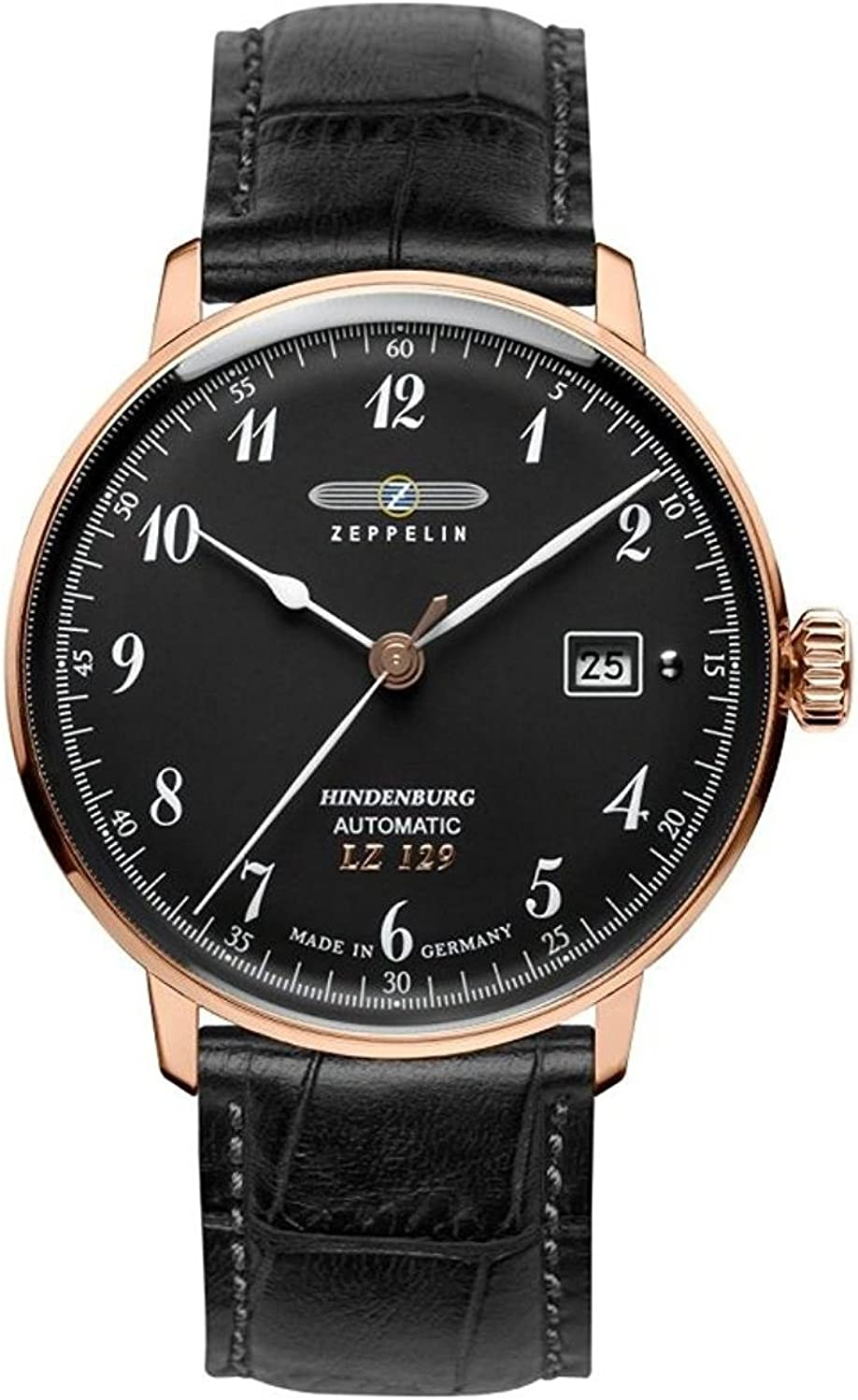 Zeppelin Series LZ129 Hindenburg Men's Automatic Date Watch Black and Rose Gold 7068-2