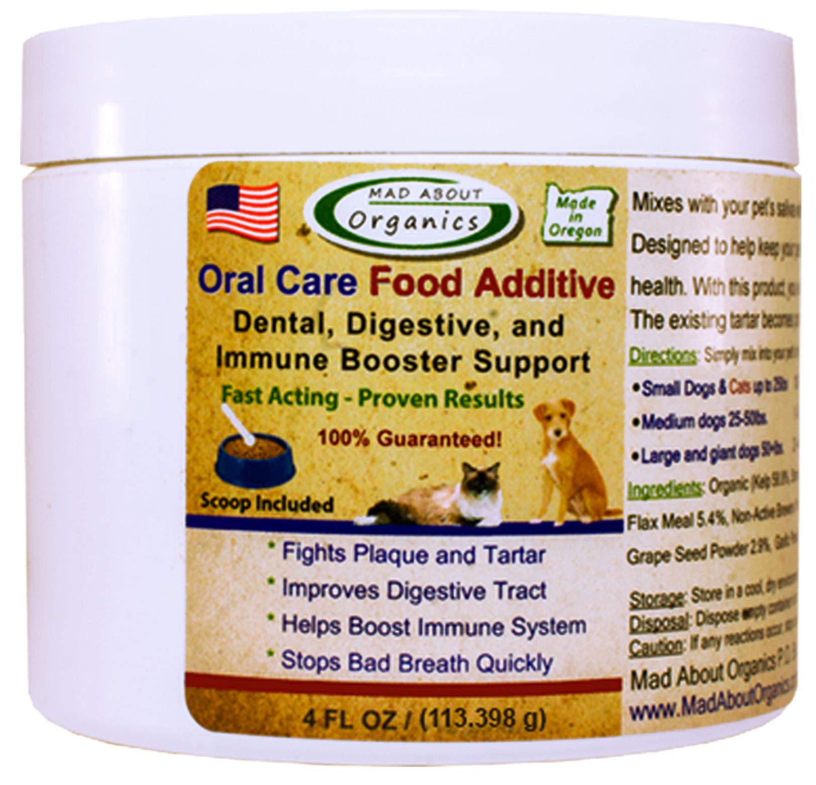 Mad About Organics All Natural Dog and Cat Oral Care Food Additive 4 ounces