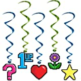 Beistle 8-Bit Whirls, 3-Feet 3 1/2-Inch by 3-Feet 5-Inch, Multicolor