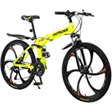 Max4out Mountain Bike Folding Bikes with High Carbon Steel Frame, Featuring 6 Spoke Wheels and 21 Speed Shimano Shifter…