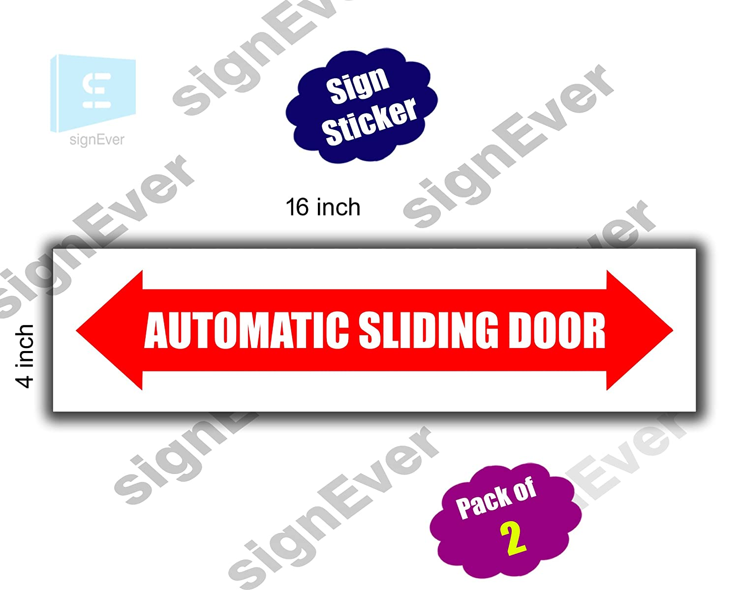 Signever Automatic Sliding Door Sign Stickers For Glass Doors Mall