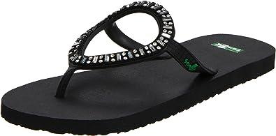 Sanuk Women's Ibiza Monaco Flip Flop Sandal,Black,5 ...