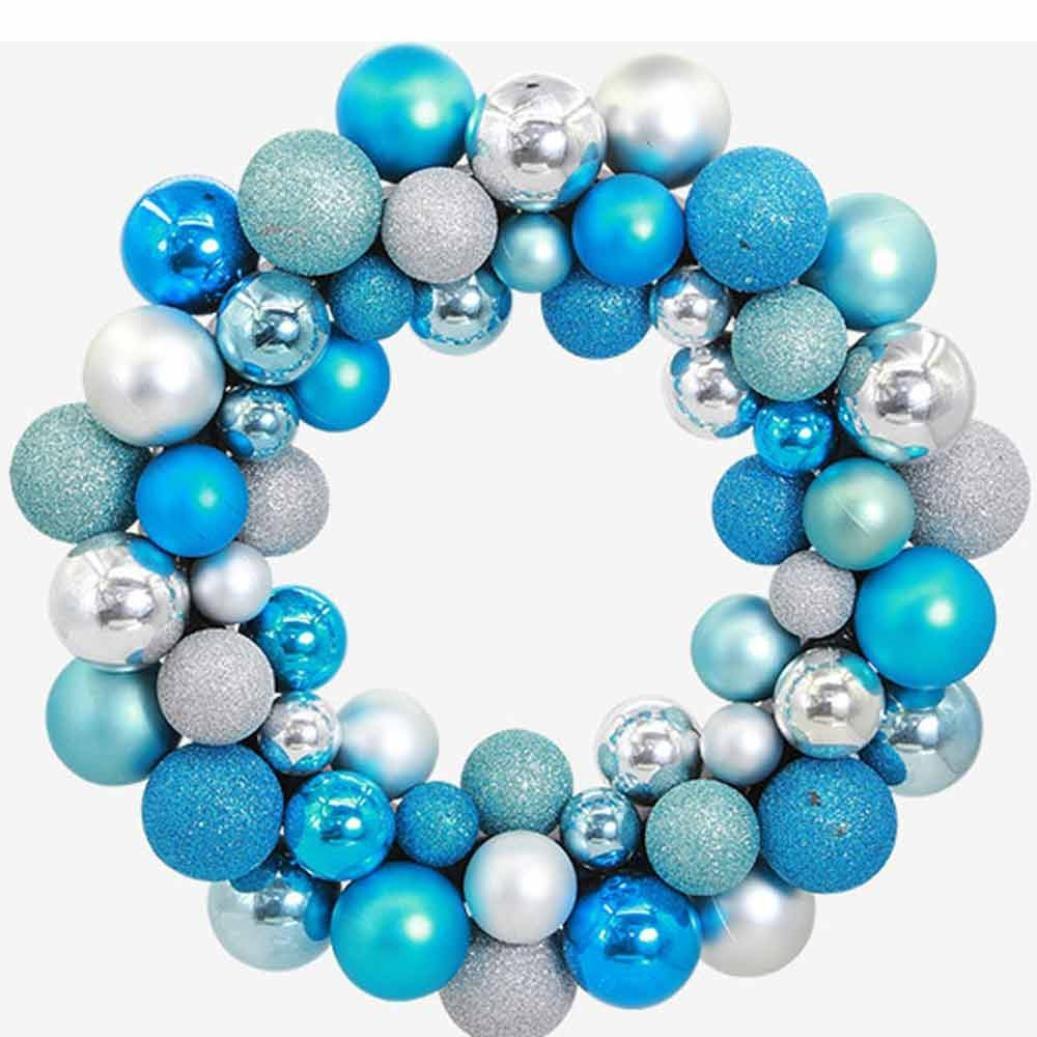 CYCTECH Christmas 55 Decoration Balls Bauble Wreath Door Wall Garland Home Party Ornament (Blue)