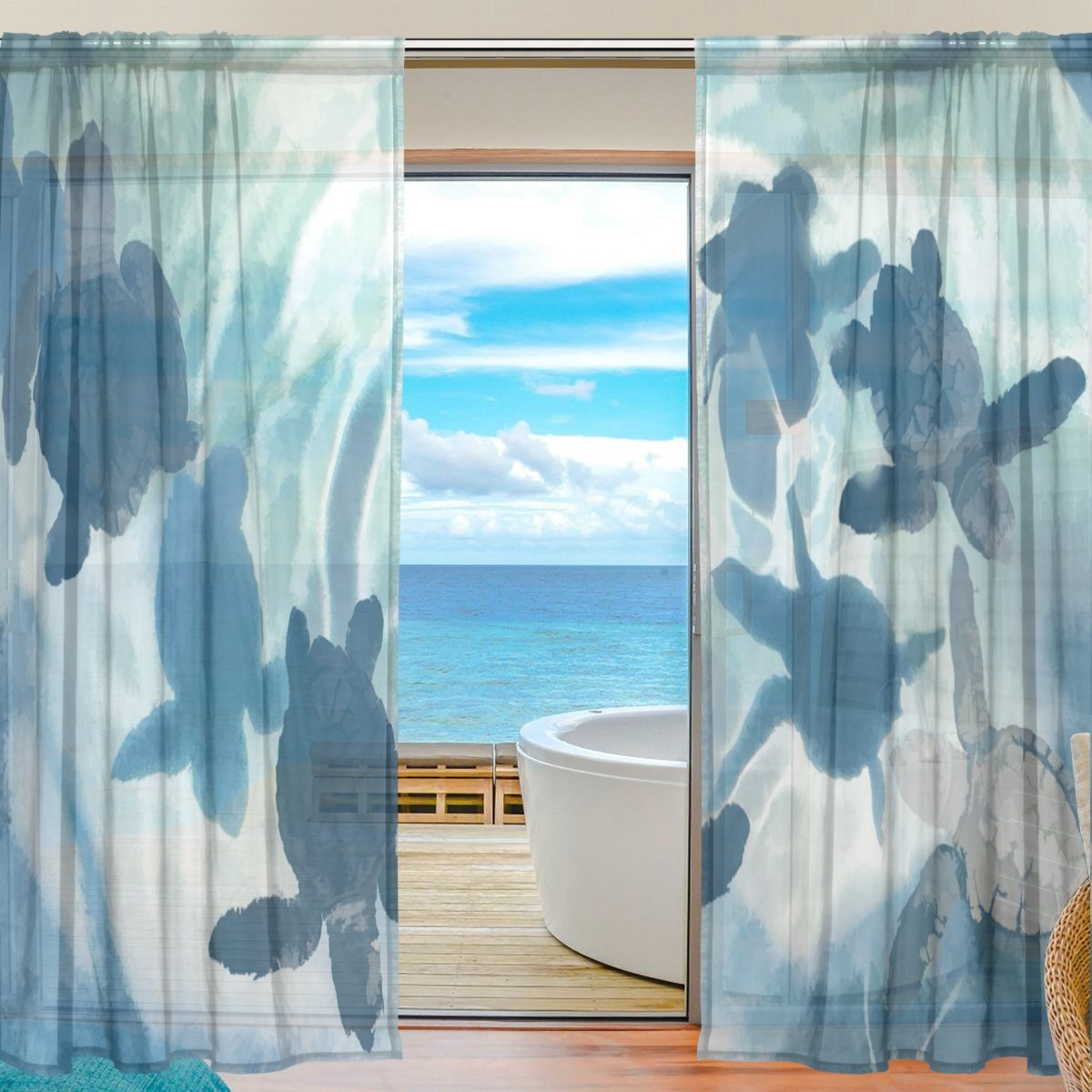 SEULIFE Window Sheer Curtain, Sea Ocean Animal Turtle Abstract Art Voile Curtain Drapes for Door Kitchen Living Room Bedroom 55x84 inches 2 Panels