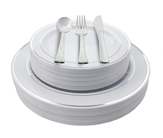 Amazon.com: 200 Piece Heavyweight Party Disposable Plastic Plates and Cutlery Set Includes 40 Dinner Plates 40 Dessert Plates and 40 Pieces of Glossy Silver ...