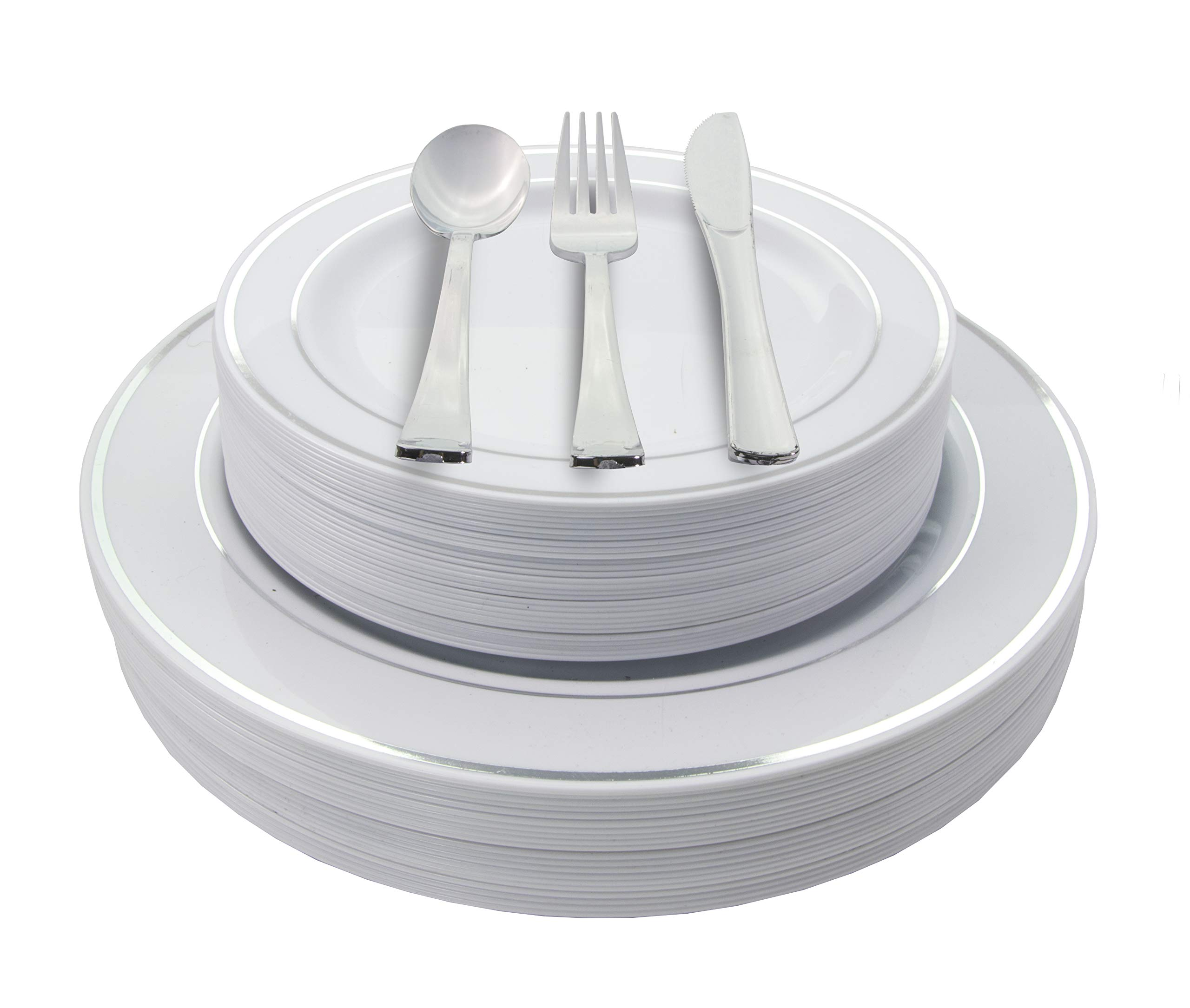 200 Piece Heavyweight Party Disposable Plastic Plates and Cutlery Set Includes 40 Dinner Plates 40 Dessert Plates and 40 Pieces of Glossy Silver Plastic Forks Knives and Spoons (Silver)