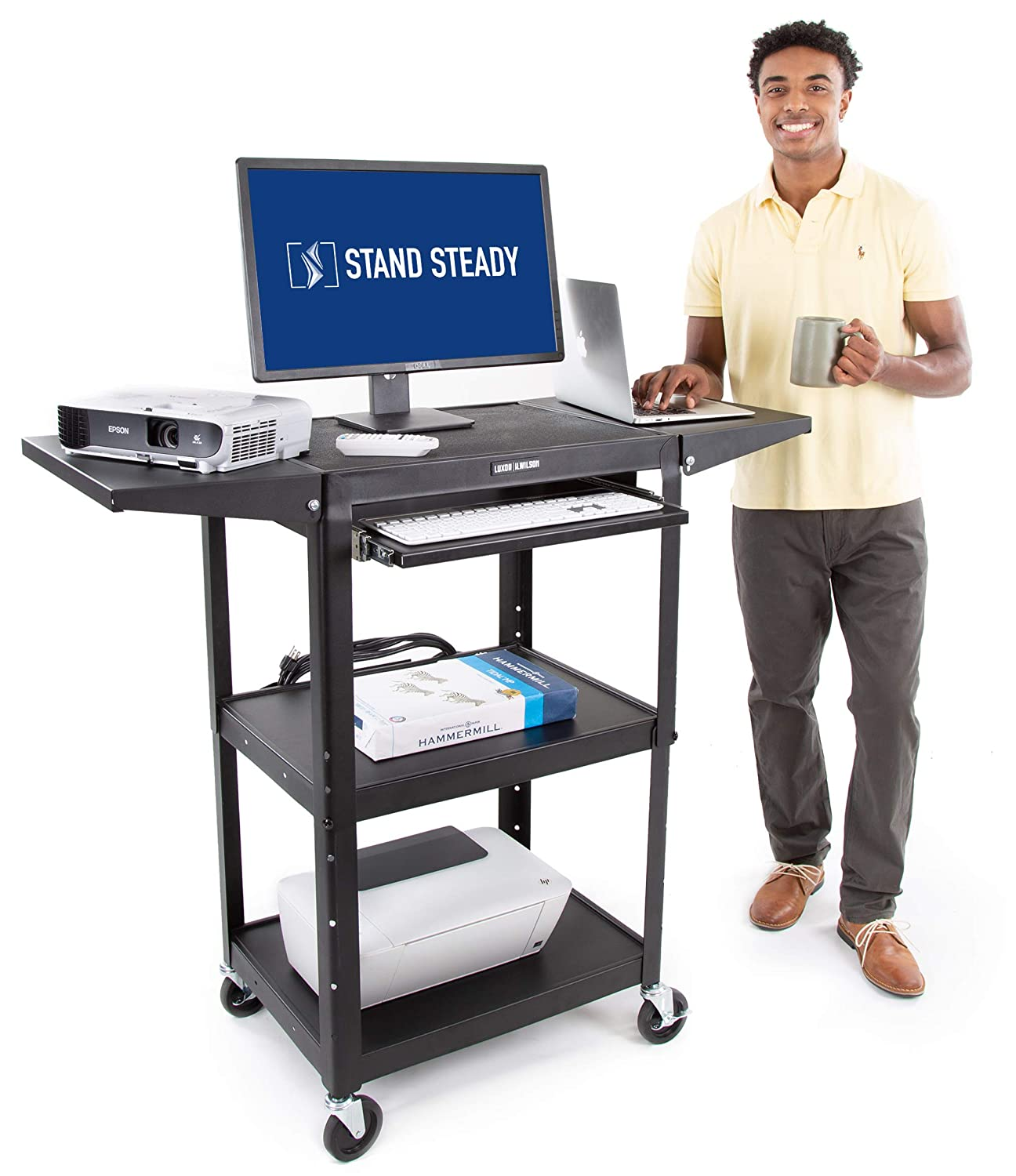 Line Leader AV Cart with Drop Leaf Shelves and Pullout Laptop Tray - Height Adjustable Utility Cart - Includes Power Strip and Cord Management - Great for Presentations (Black / 46 x 18)