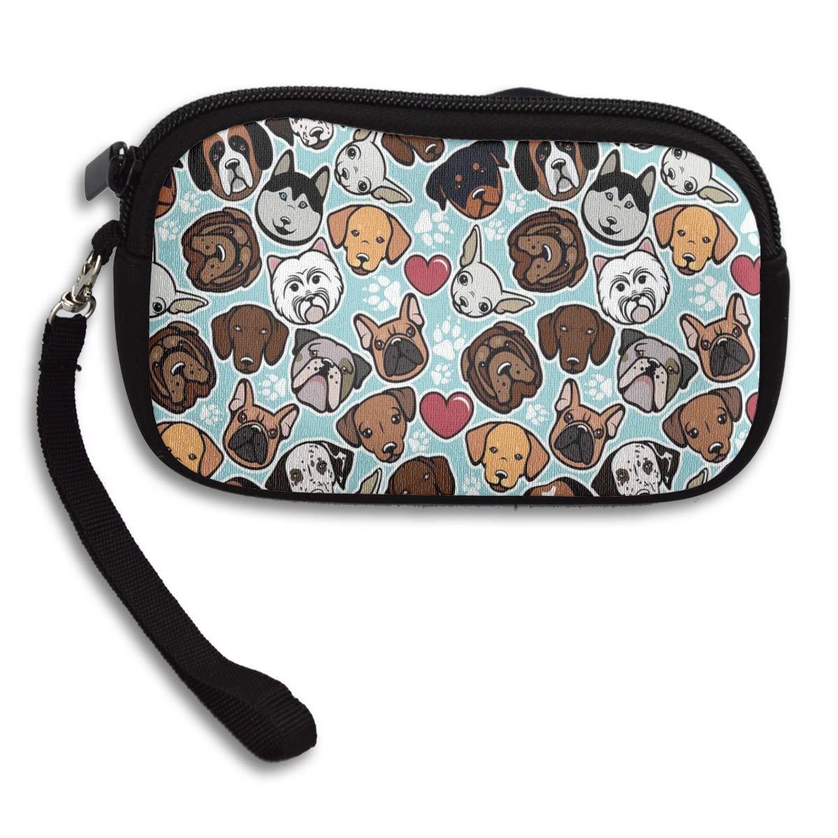 Dog Paw Prints Heart Canine Breeds Coin Pouch Clutch Purse Wristlet Wallet Phone Card Holder Handbag