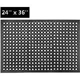 ROVSUN Rubber Floor Mat with Holes, 24''x 36'' Anti-Fatigue/Non-Slip Drainage Mat, for Industrial Kitchen Restaurant Bar…