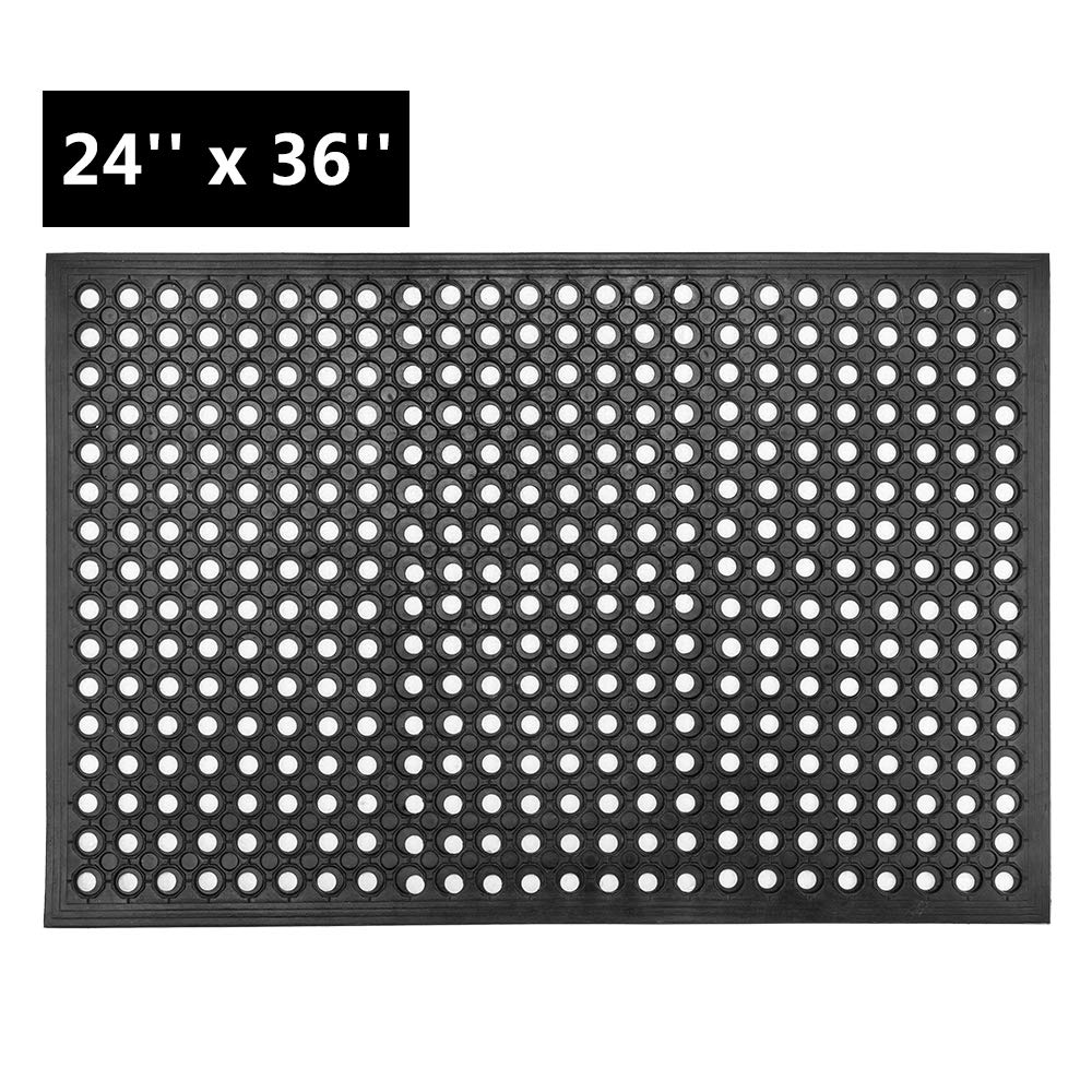 ROVSUN Rubber Floor Mat with Holes, 24''x 36'' Anti-Fatigue/Non-Slip Drainage Mat, for Industrial Kitchen Restaurant Bar Bathroom, Indoor/Outdoor Cushion by ROVSUN