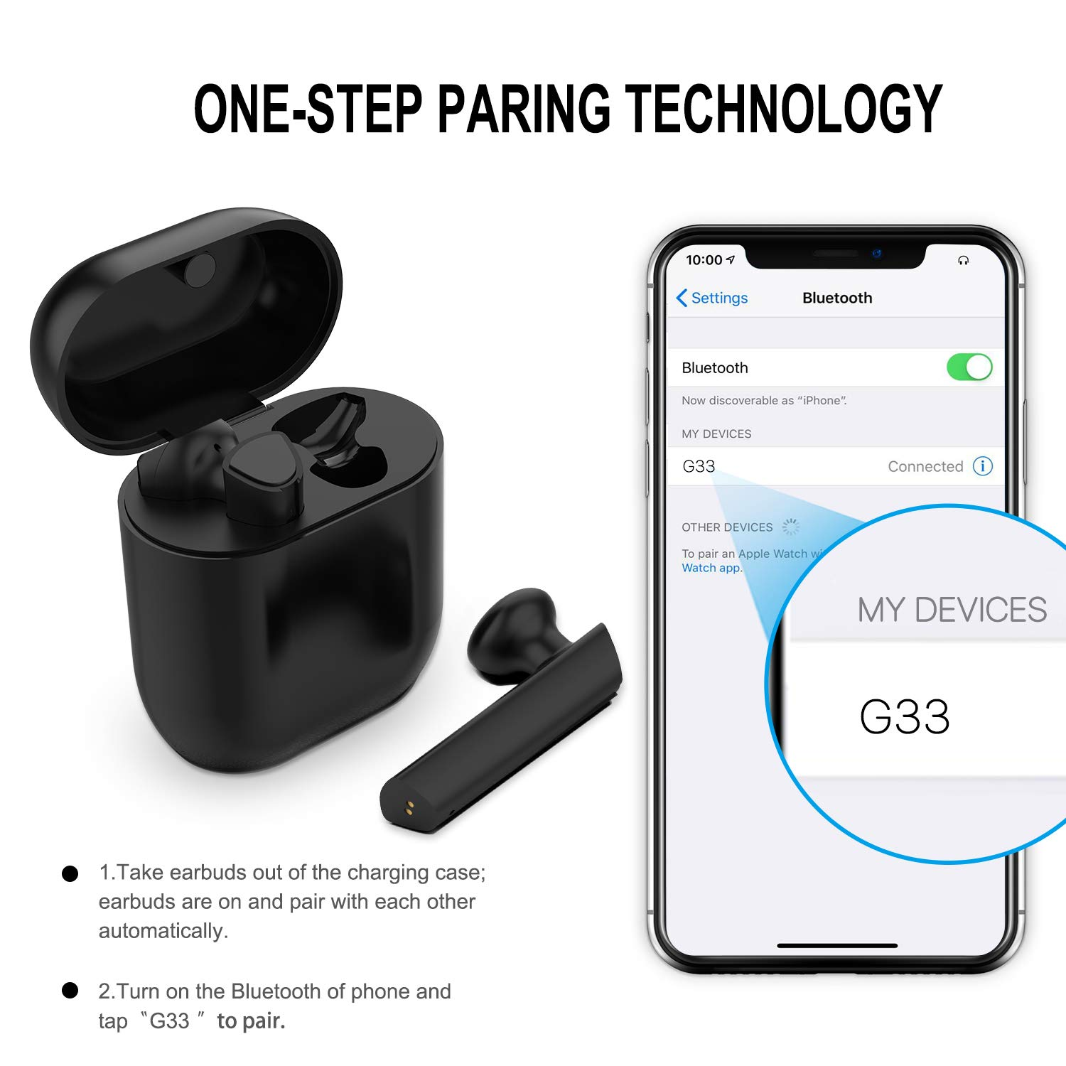 Upgraded Bluetooth 5.0 Wireless Earbuds, Bluetooth Headphones with 35 Hour Playtime Deep Bass HiFi 3D Stereo Sound, Built-in Mic Earphones with Portable Charging Case for Smartphones and Laptops by Andore (Image #5)