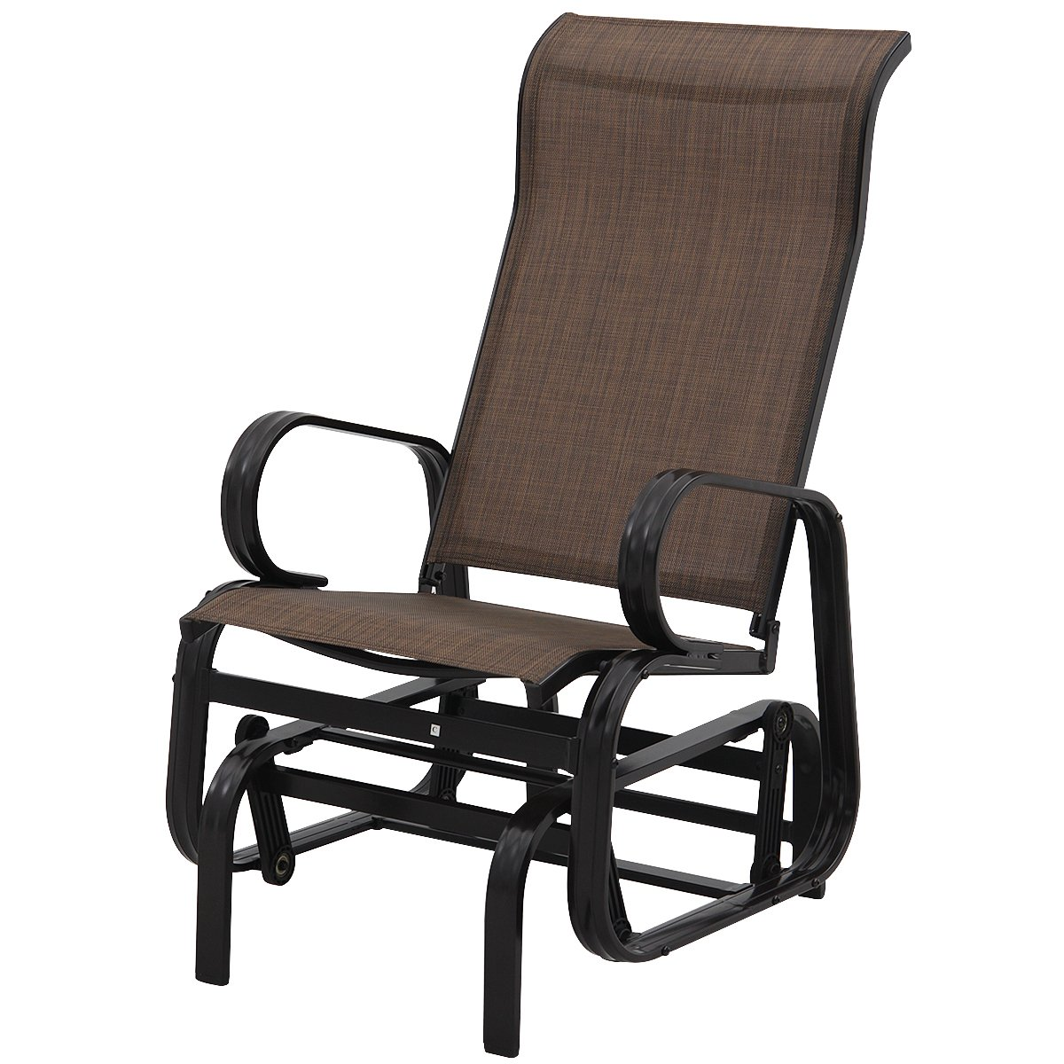 Amazon com giantex outdoor patio glider rocking chair bench rocker patio armchair dark brown garden outdoor