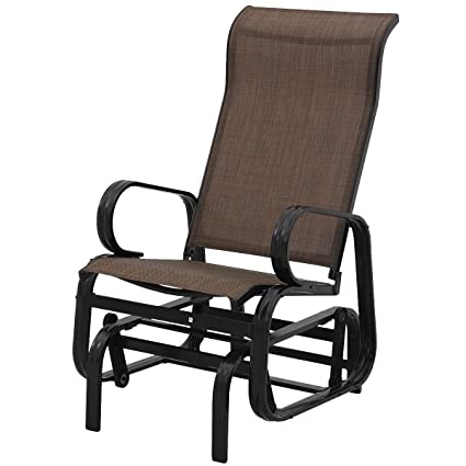 Giantex Outdoor Patio Glider Rocking Chair Bench Rocker Patio Armchair (Dark  Brown)